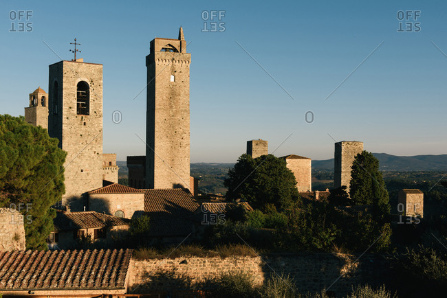 Looking across the many towers of San Gimignano in Tuscany