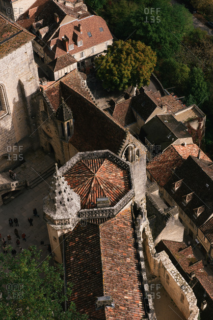 Rocamadour, Occitanie, France - October 10, 2019: Looking down on the town of Rocamadour and the