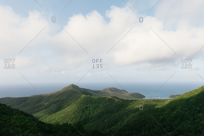 Looking down the tropical southern coast of Antigua