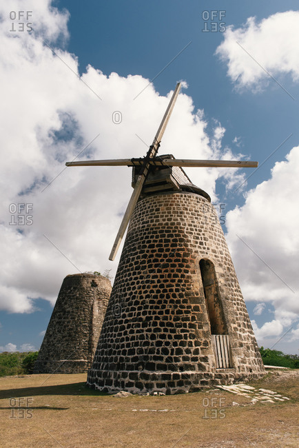 An abandoned set of sugar cane windmills on the island of Antigua