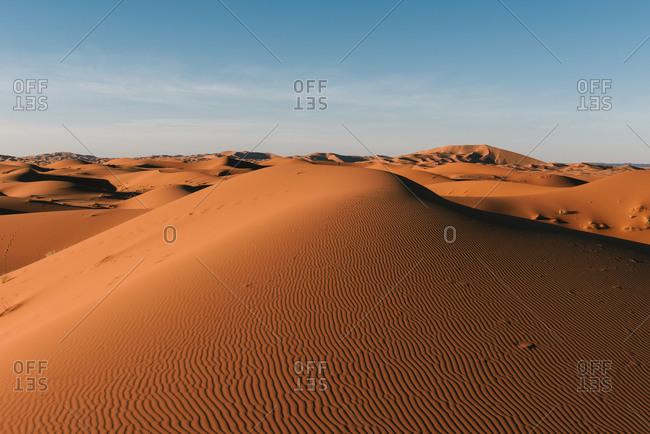 The endless rolling dunes of the Sahara desert as seen near Merzouga
