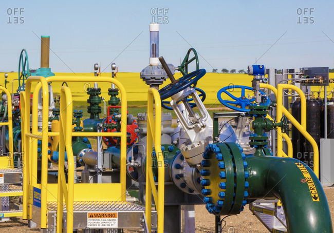 Mandan, ND, United States - June 27, 2017: Gas Compression Station in North Dakota
