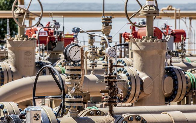 Mandan, ND, United States - June 28, 2017: Gas Compression Station in North Dakota