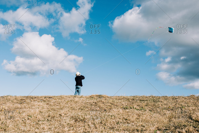Young boy flying a kite on a hill on a beautiful sunny day