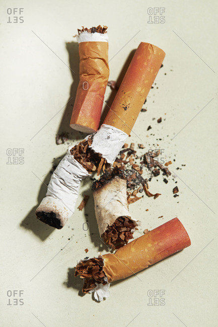 Crushed Smoked Cigarettes with Lipstick