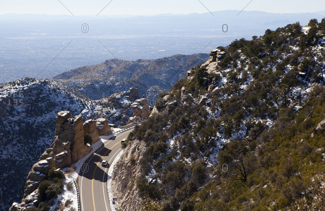 Aerial of a car driving on Catalina Highway in Arizona, USA