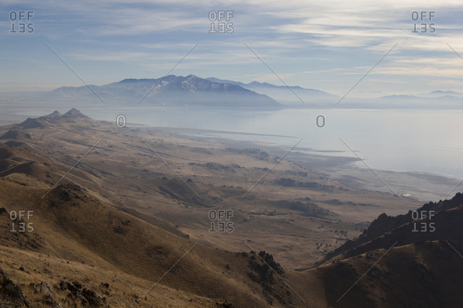 Haze over the Great Salt Lake at Antelope Island State Park, Utah, USA
