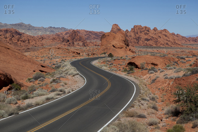 Scenic drive through the desert at Valley of Fire State Park, Nevada,