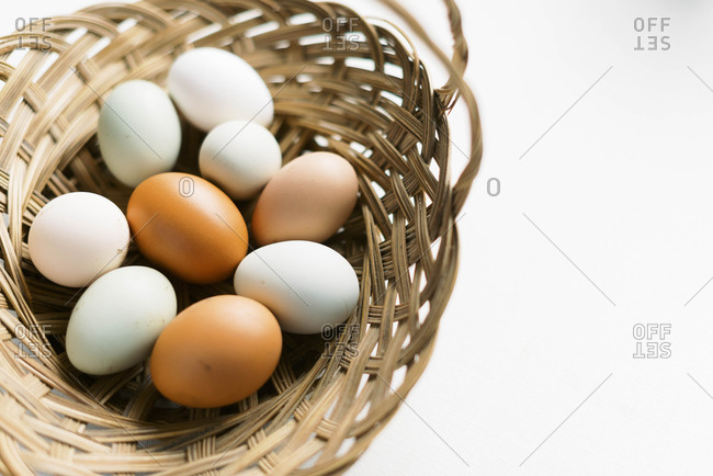Fresh eggs from the chicken coop.