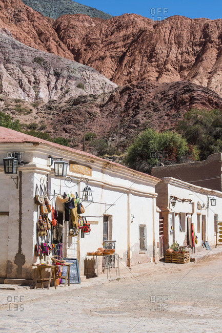 Purmamarca, Jujuy, Argentina - April 20, 2017: Small street in the village of Purmamarca in Argentina