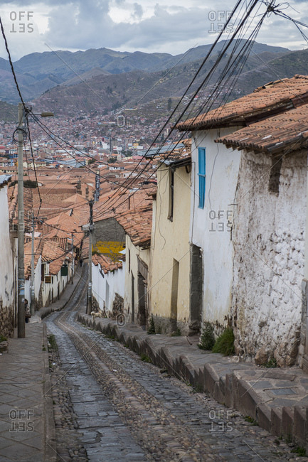 Cusco, Cusco, Peru - May 11, 2017: Steep street in Cusco, Peru