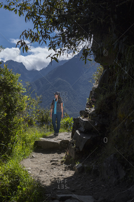 Woman hiking on the Inca Trail close to Machu Picchu