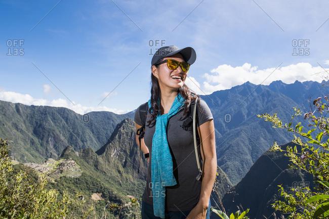 Woman on the Inca Trail close to Machu Picchu