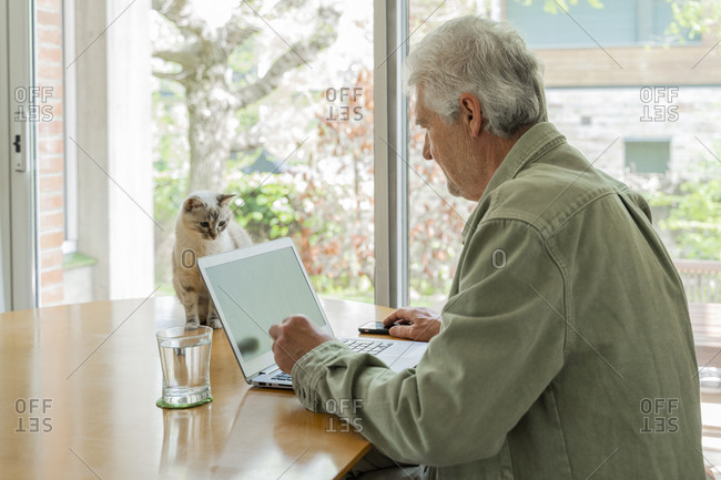 Side view of retired elderly man using laptop while sitting table by window