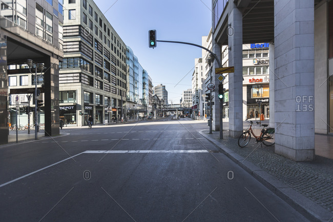 March 24, 2020: Germany- Berlin- Empty intersection on Friedrichstrasse during COVID-19 epidemic