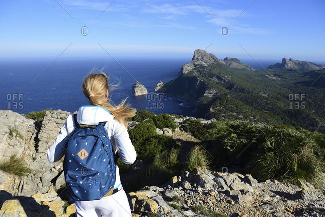Female hiker enjoying view from Cap Formentor- Balearic Islands- Spain