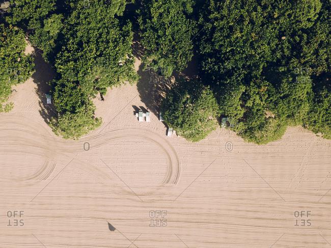Indonesia- Bali- Nusa Dua- Aerial view of green trees stretching along sandy beach