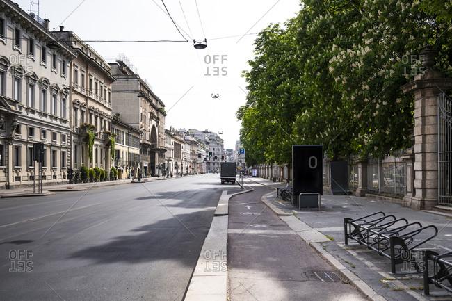 Italy- Milan- Corso Venezia street during COVID-19 outbreak