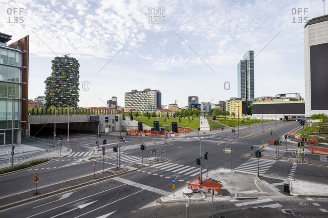 April 18, 2020: Italy- Milan- Porta Garibaldi intersection during COVID-19 outbreak