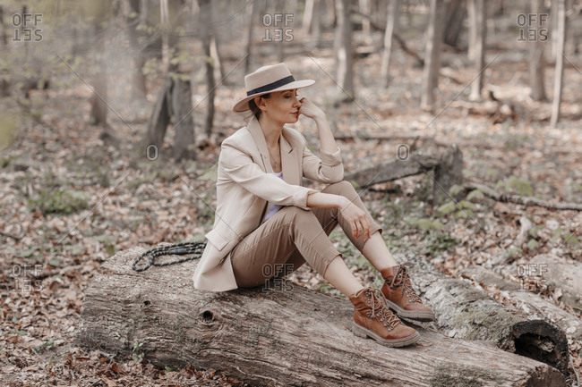 Fashionable woman sitting on a log in the forest