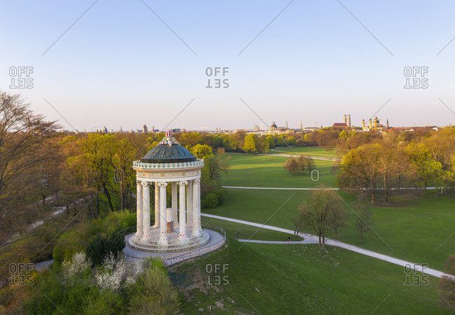 Germany- Bavaria- Munich- Aerial view of Monopteros in English Garden