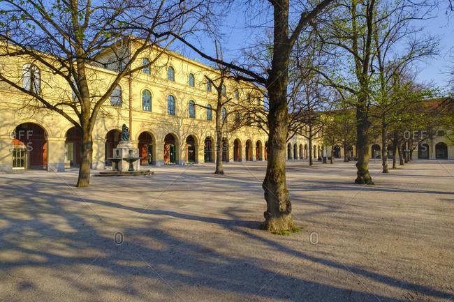 April 10, 2020: Germany- Bavaria- Munich- Deserted Hofgarten in spring