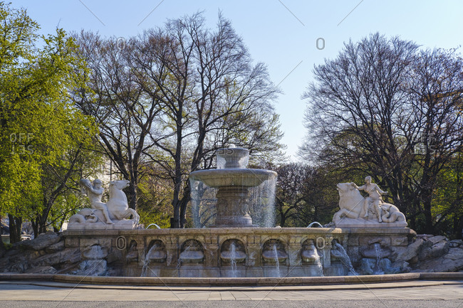 April 10, 2020: Germany- Bavaria- Munich- Wittelsbach Fountain in spring