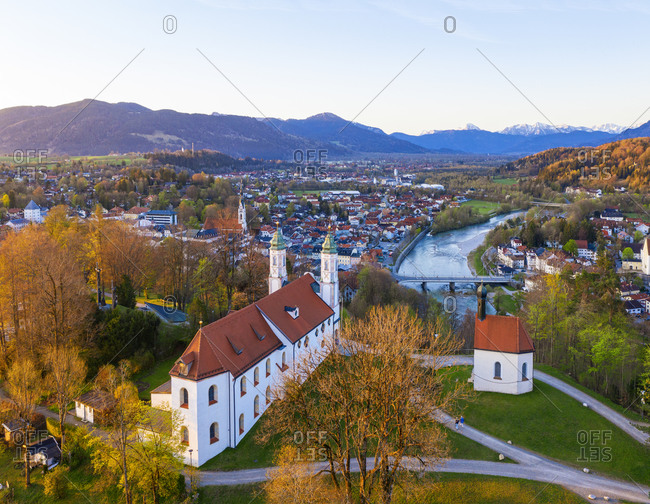 Germany- Bavaria- Bad Tolz- Drone view ofKreuzkirche at springtime dawn