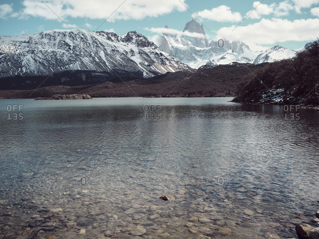 Idyllic shot of Laguna Torre with snowcapped Andes range in background- El Chalten- Argentina