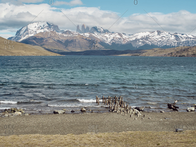 Scenic view of Torres del Paine Mountains from the Laguna Azul Laguna Azul- Torres del Paine National Park- Chile