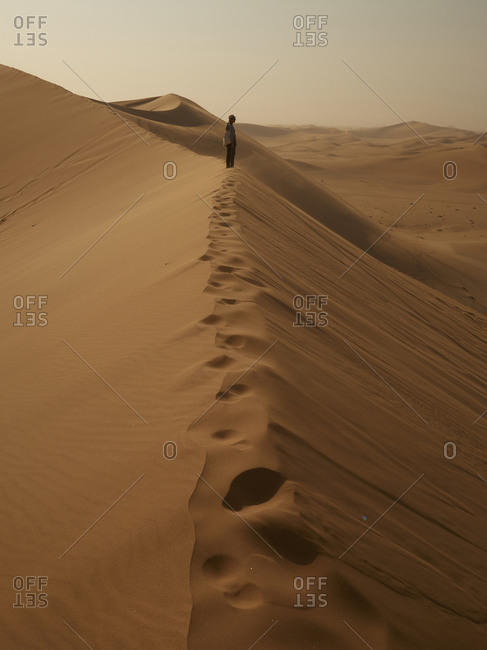 Woman on the ridge of a dune in the desert- Walvis Bay- Namibia