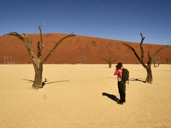 Woman taking a picture of one of the trees surrounded by dunes at Deadvlei- Namibia.