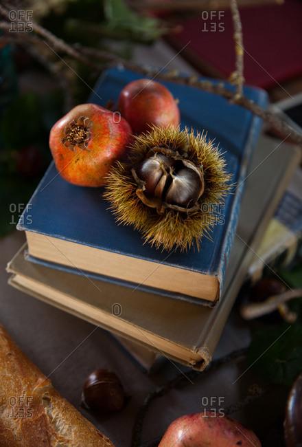A rustic autumn tabletop arrangement