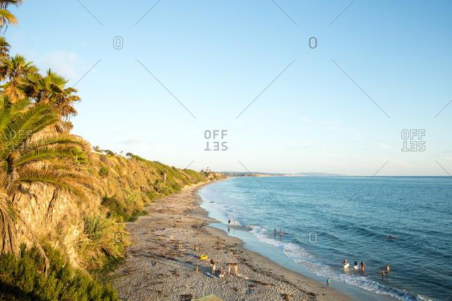 Beachgoers on a southern California Beach