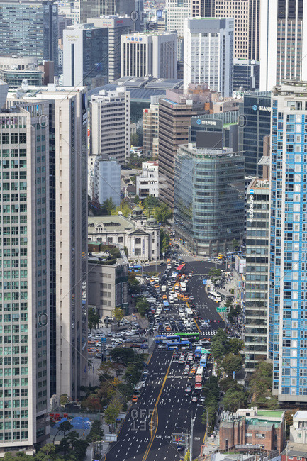 October 25, 2019: Aerial view of skyscrapers and traffic, Seoul, South Korea, Asia