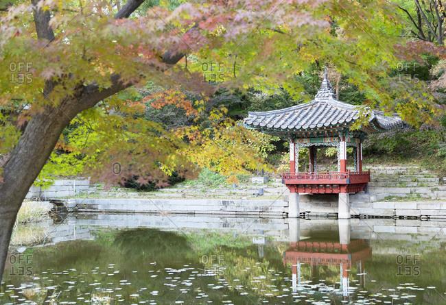 October 29, 2019: Secret Garden in Changdeokgung Palace, UNESCO World Heritage Site, Seoul, South Korea, Asia