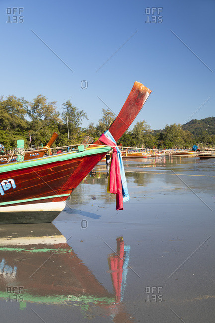January 25, 2020: Long tail boats on Kata Beach, Phuket, Thailand, Southeast Asia, Asia