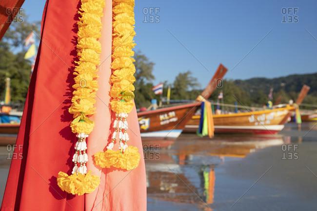January 25, 2020: Long tail boats on Kata Beach, Phuket, Thailand, Southeast Asia, Asia