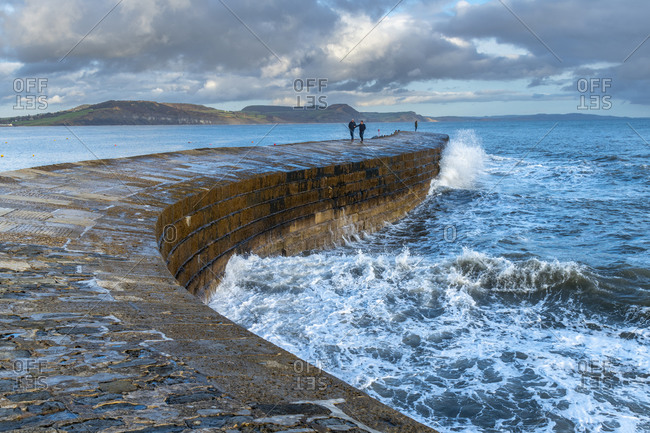 November 9, 2019: The Cobb Harbor Wall, Lyme Regis, Jurassic Coast, UNESCO World Heritage Site, Dorset, England, United Kingdom, Europe