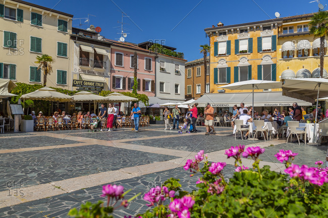 September 11, 2019: View of Piazza Giosue Carducci on a sunny day, Sirmione, Lake Garda, Brescia, Lombardy, Italian Lakes, Italy, Europe