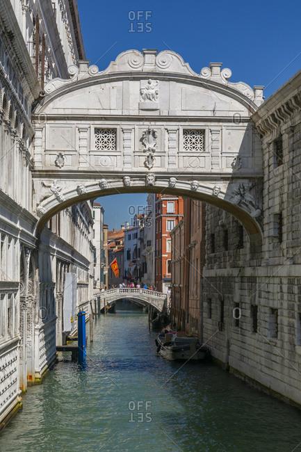 September 12, 2019: View of Bridge of Sighs from Riva Degli Schiavoni, Venice, UNESCO World Heritage Site, Veneto, Italy, Europe
