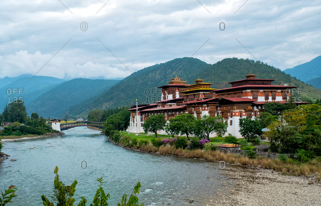 Punakha Dzong, a 17th century fortress on both Pho and Mo Chhu Rivers, Bhutan, Asia