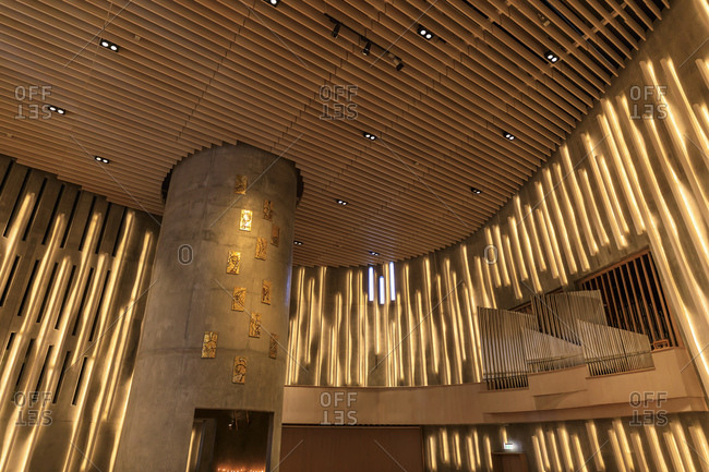 March 3, 2020: Northern Lights Cathedral, striking interior, Alta, Troms og Finnmark, Arctic Circle, North Norway, Scandinavia, Europe