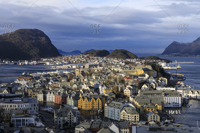 March 8, 2020: View from Aksla hill over Alesund, Art Nouveau buildings, mountains and sea in winter, Alesund, More og Romsdal, Norway, Scandinavia, Europe