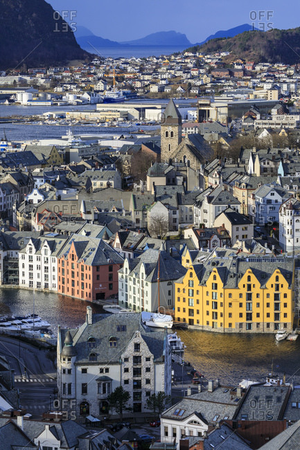 March 8, 2020: View from Aksla hill over beautiful Alesund, colorful Art Nouveau buildings in winter, Alesund, More og Romsdal, Norway, Scandinavia, Europe