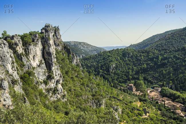 St.-Guilhem-le-Desert, a medieval village on the Way of St. James (Camino de Santiago) to Santiago de Compostela, Gellone Valley, Herault, Occitanie, France, Europe