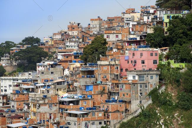 July 7, 2016: Copacabana neighborhood and the Pavao Pavaozinho favela slum, Copacabana, Rio de Janeiro, Brazil, South America