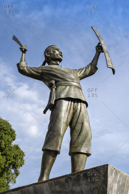 November 4, 2019: Pattimura monument, celebrating Thomas Matulessy (Pattimura) who rebelled against the Dutch in 1817, Saparua, Ambon, Maluku, Indonesia, Southeast Asia, Asia