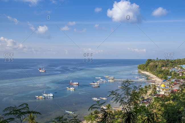 Elevated view of the main village of Banda Besar, Maluku, Spice Islands, Indonesia, Southeast Asia, Asia