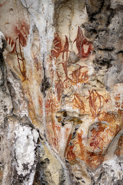 Prehistoric rock art in Misool, Raja Ampat, West Papua, Spice Islands, Indonesia, Southeast Asia, Asia